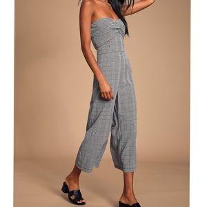 Lulu's Pants & Jumpsuits - NWT Lulus Black Gingham Twist-Front Jumpsuit